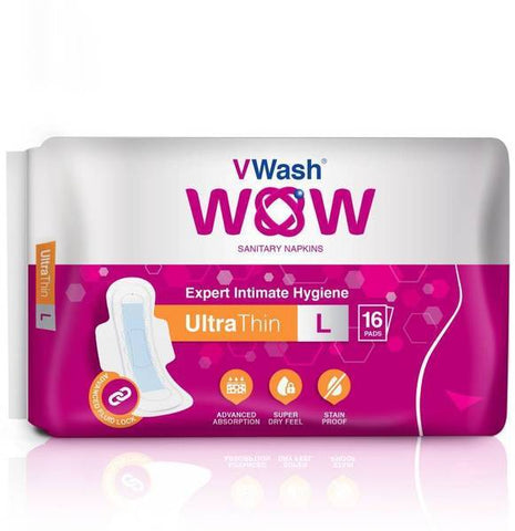 VWash Wow Sanitary Napkin Ultra Thin Large 16's Pads - Pack of 2