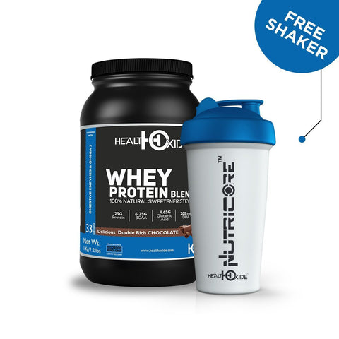 Healthoxide Whey Protein With Stevia - 1 Kg (Delicious Double Rich Chocolate) With Free Shaker