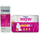 VWash Combo Pack Of VWash Plus 200Ml + VWash Wow Sanitary Napkin Ultrathin XL 16's Pads