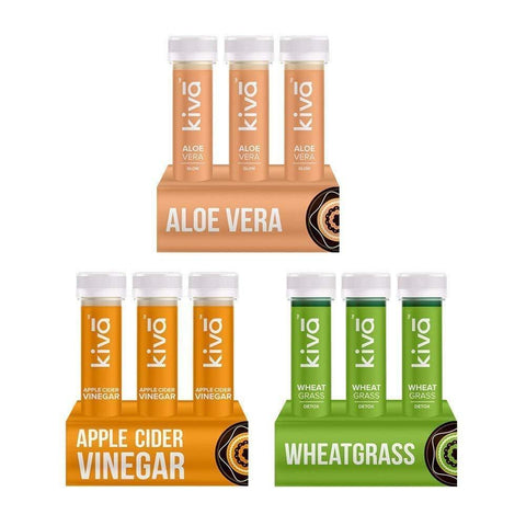 Kiva Detox Combo | Apple Cider Vinegar, Wheatgrass, Aloe Vera Juice | 18Pcs Healthy Shots