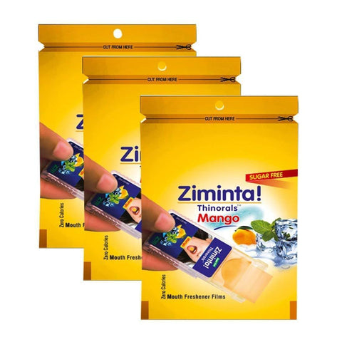 Ziminta Sugar Free Mint Mouth Freshener Mango (Pack Of 3*30 Strips)