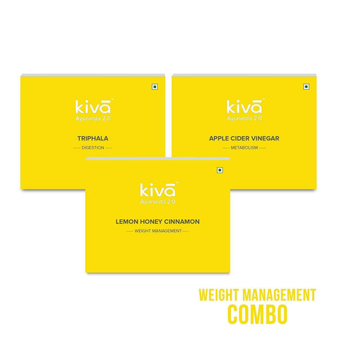 Kiva Weight Management Combo | Lemon Honey Cinnamon,Apple Cider Vinegar,Triphala Juice| 30Pcs Healthy Shots