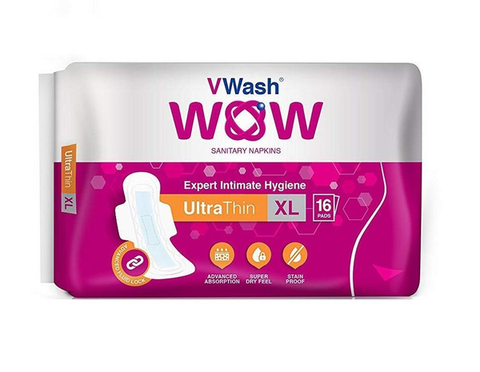 VWash Wow Sanitary Napkin Ultra Thin XL 16's Pads - Pack of 2