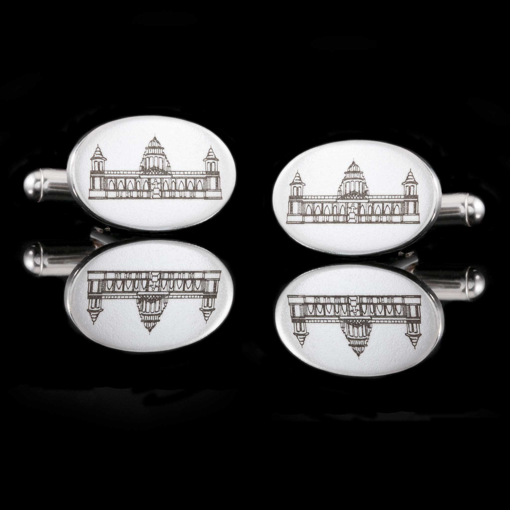 City Hall Belfast, Bespoke Silver Cufflinks, Hallmarked and also engraved with front section of City Hall.