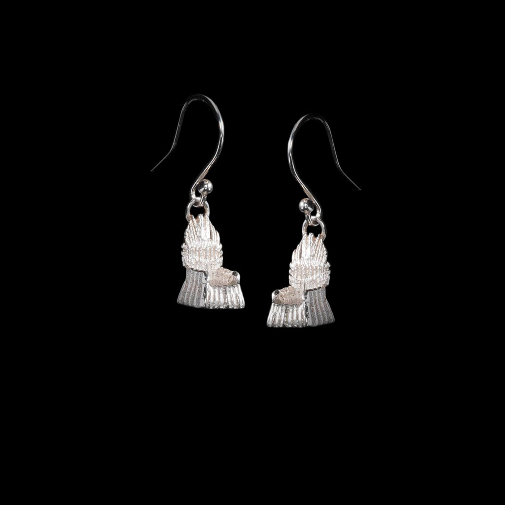 Solid Silver Earrings - Handcrafted and Handmade silver earrings UK, these show a pair of NI Silver Throne Earrings which are hallmarked.