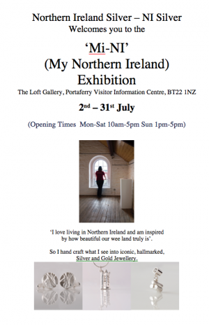 As part of the Northern Ireland Creative Peninsula NI Silver exhibition of Siliver Jewellery will be at the Portaferry Tourist Visitors Centre