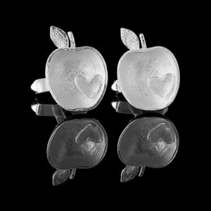 Armagh Apple Silver Cufflinks - The Bramley Apples of County Armagh designed as Sterling Silver Cufflinks with a love heart inserted.  Stunning nature inspired jewellery / alternate jewellery from Northern Ireland.