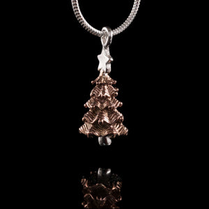 Christmas Tree Silver and Gold Necklace, solid 925 sterling silver with rose gold plate Christmas gift jewellery gift idea.  Christmas tree has a silver star on the top.