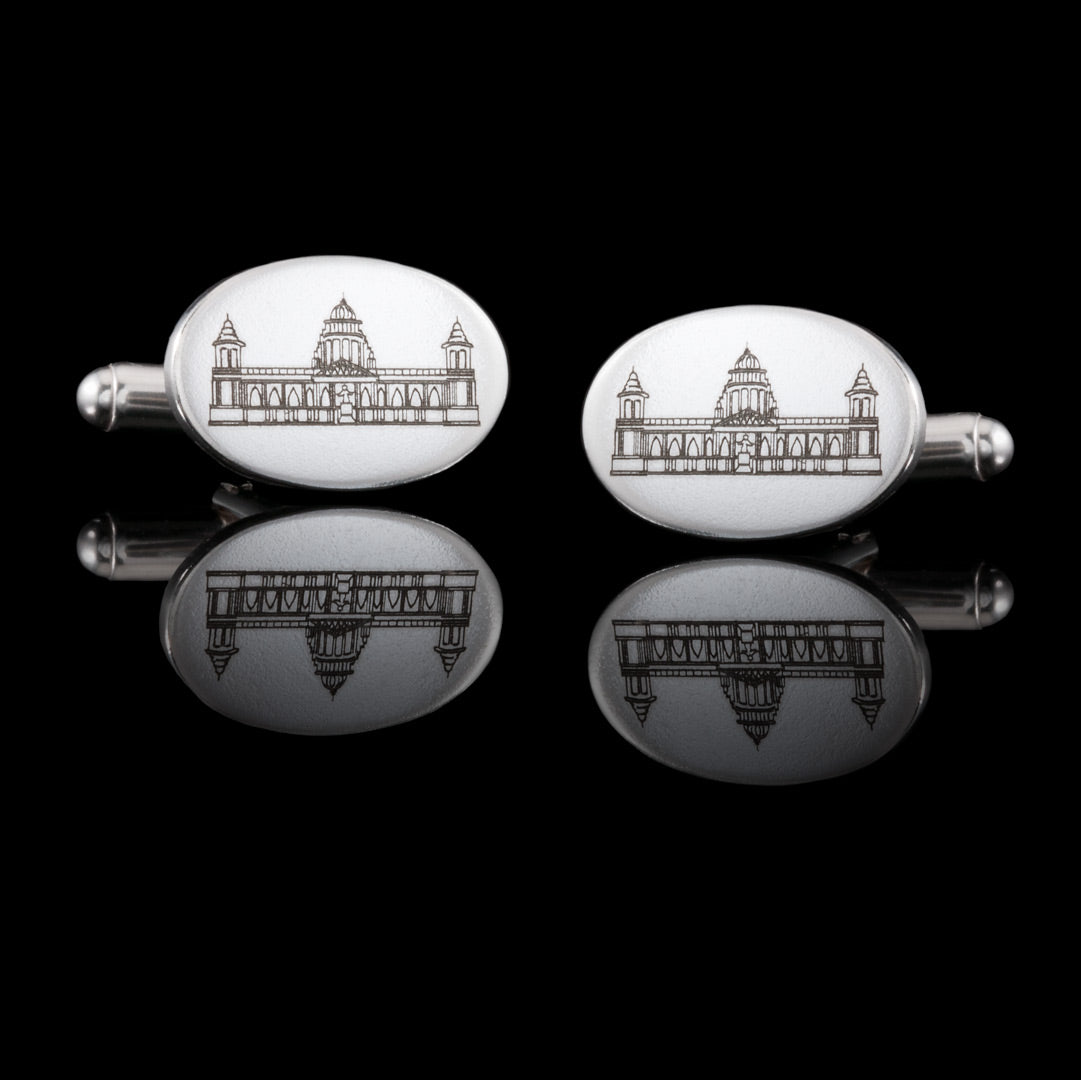 Belfast City Hall Hallmarked Engraved Solid silver bespoke silver cufflinks.