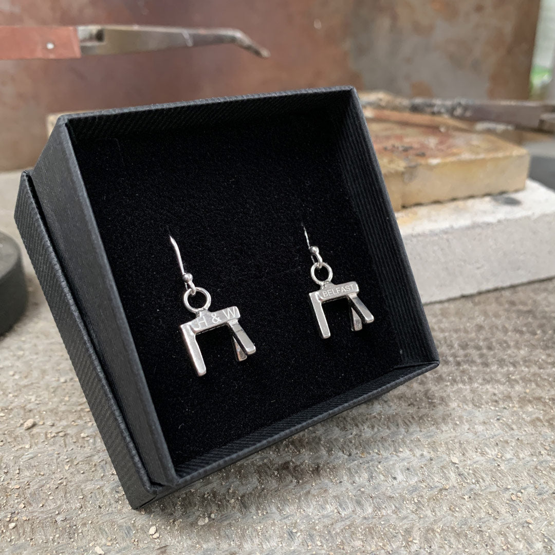 Belfast's famous cranes made into small silver earrings, ideal for tourists, visitors and locals alike. Made by Northern Ireland Silver Jewellery.