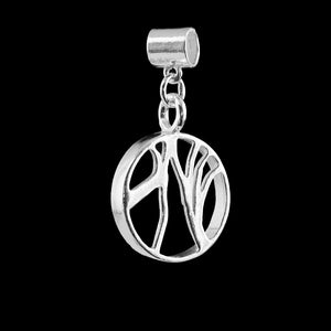 Dark Hedges Charm Nature Inspired Jewellery NI Silver Dark Hedges - Circular charm with tree branches across the inner edges of the charm rung.  Jewellery inspired by nature. Solid 925 sterling silver. jewellery maker near belfast northern ireland uk irish silversmith hallmarked jewelry
