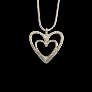 Mother and Child - Silver Love Heart Necklace