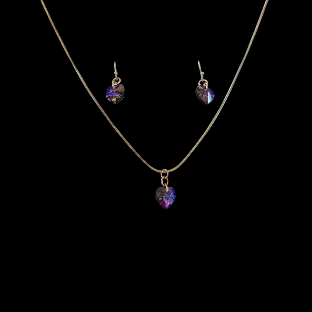 Helitrope Necklace and Earring set - Blue / purple colour