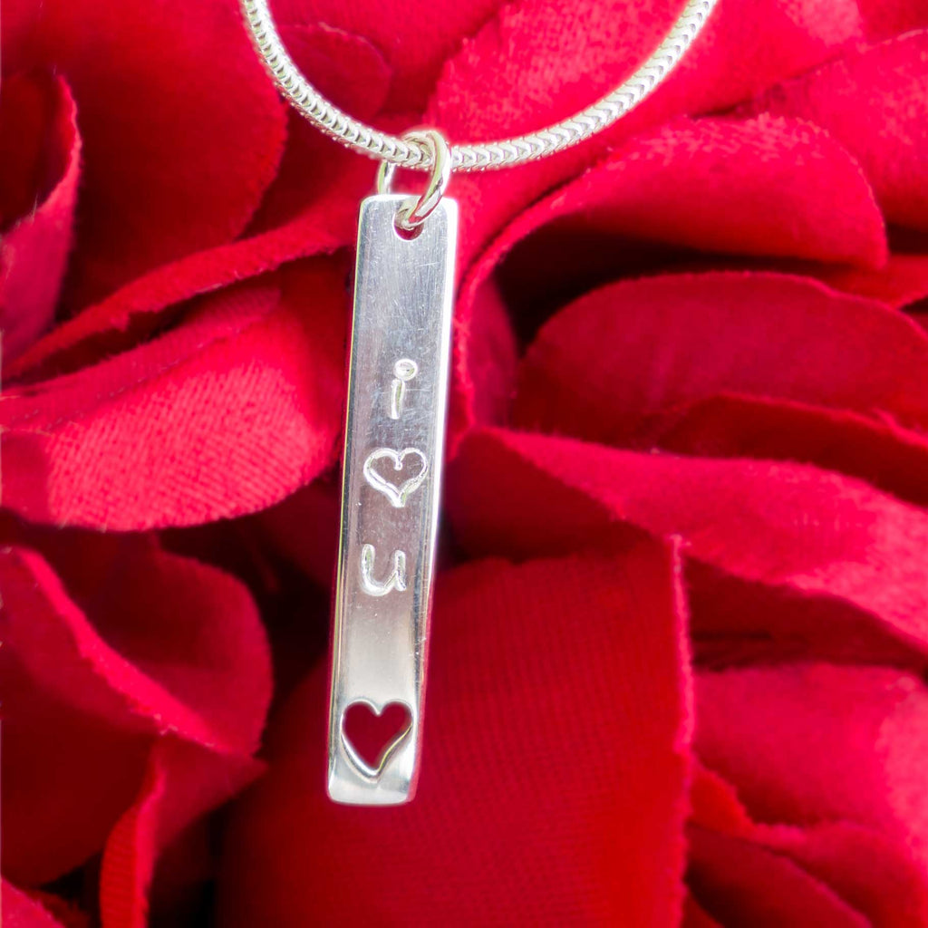 I Love You Stamped Silver Heart Necklace