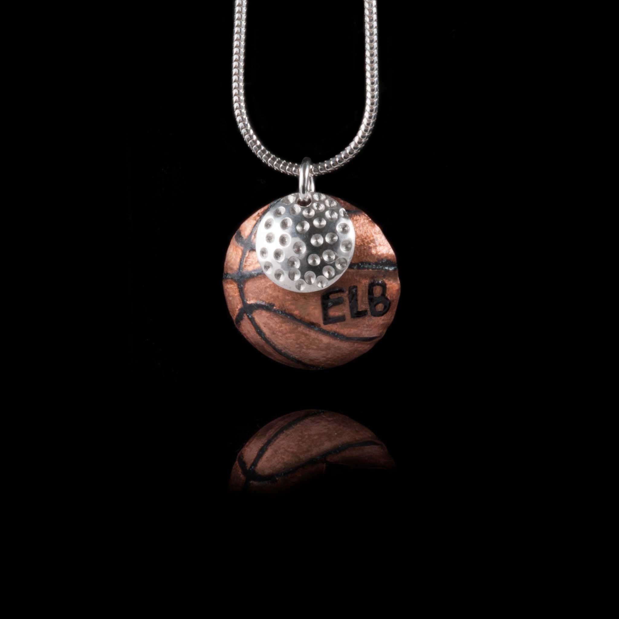 Silver and Copper Golf / Basketball Necklace