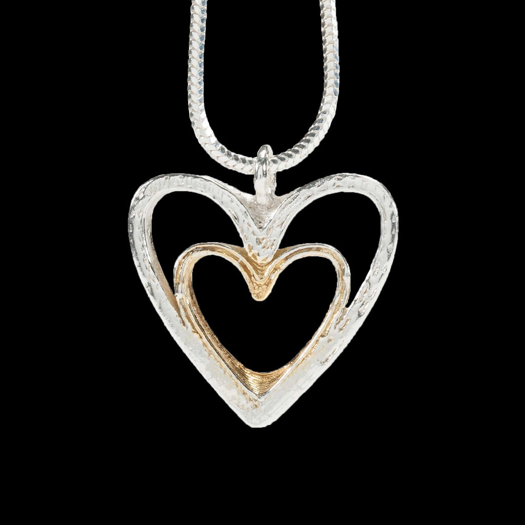 Love Hearts Necklace - Silver with Gold Plate
