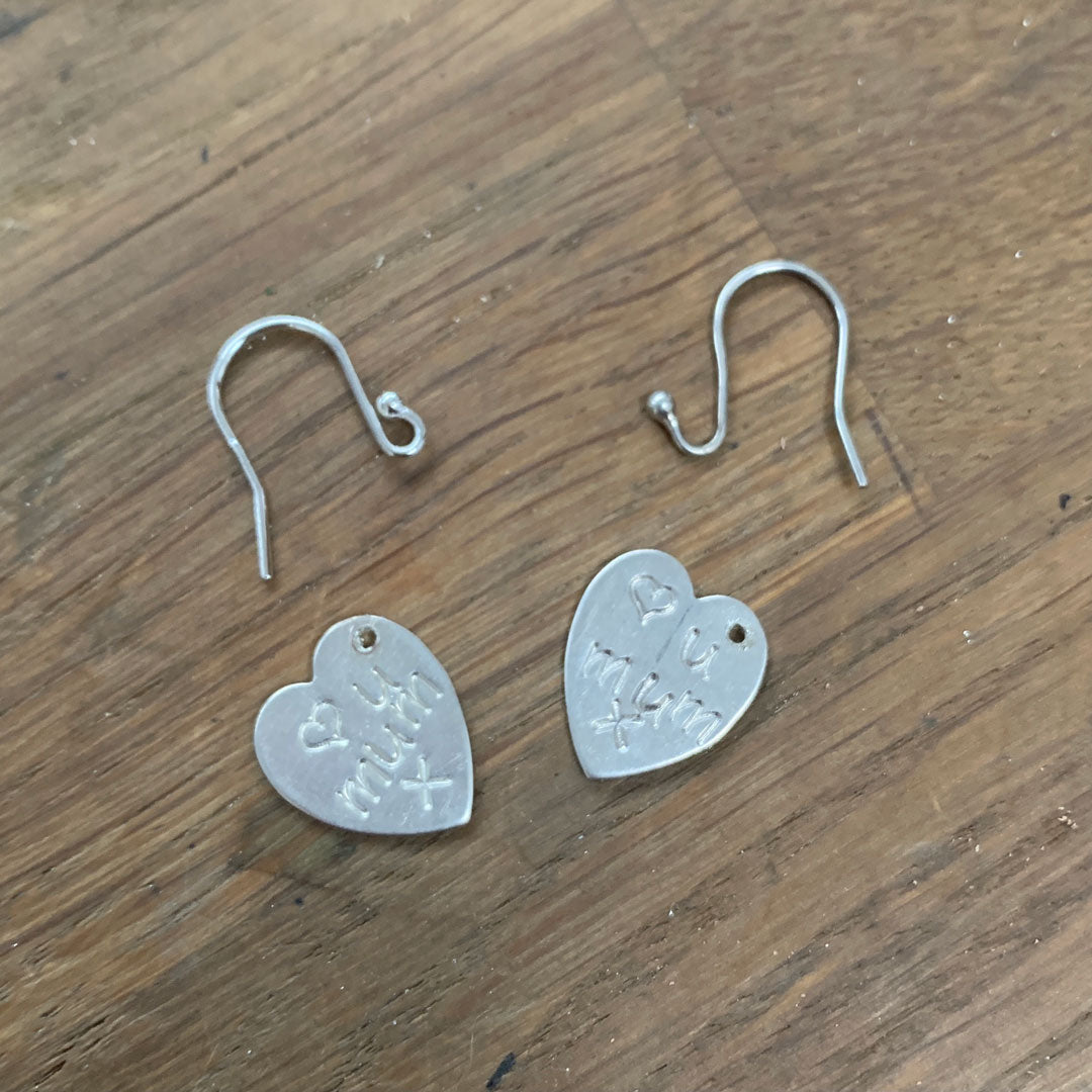 Sterling Silver Love heart drop earrings. Hand engraved with a love heart and U Mum x.
