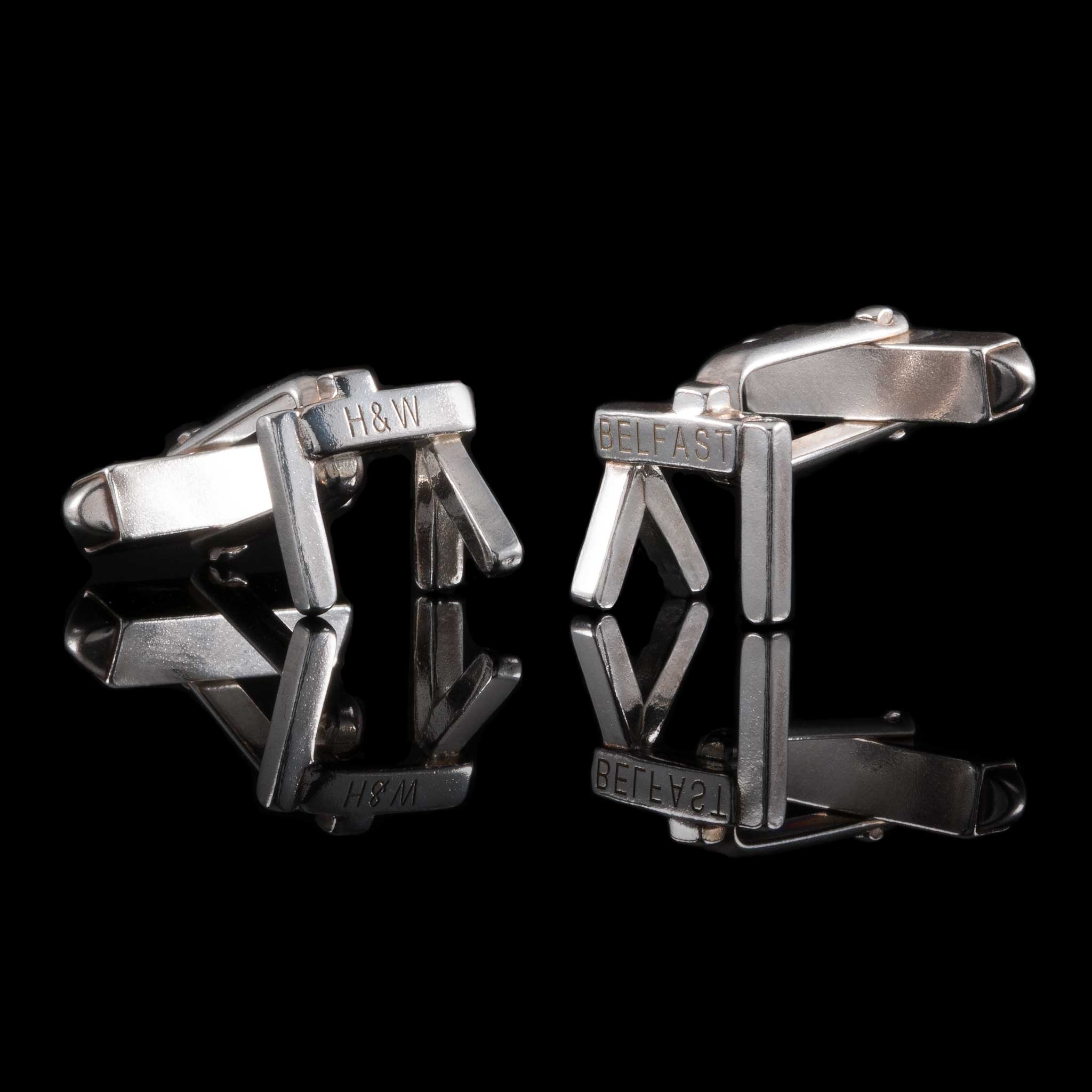 Personalised Silver Belfast Crane Cufflinks. Famous tourist and local landmark that can be worn for work, engagements, weddings and family special days. Irish Jewellery Designers
