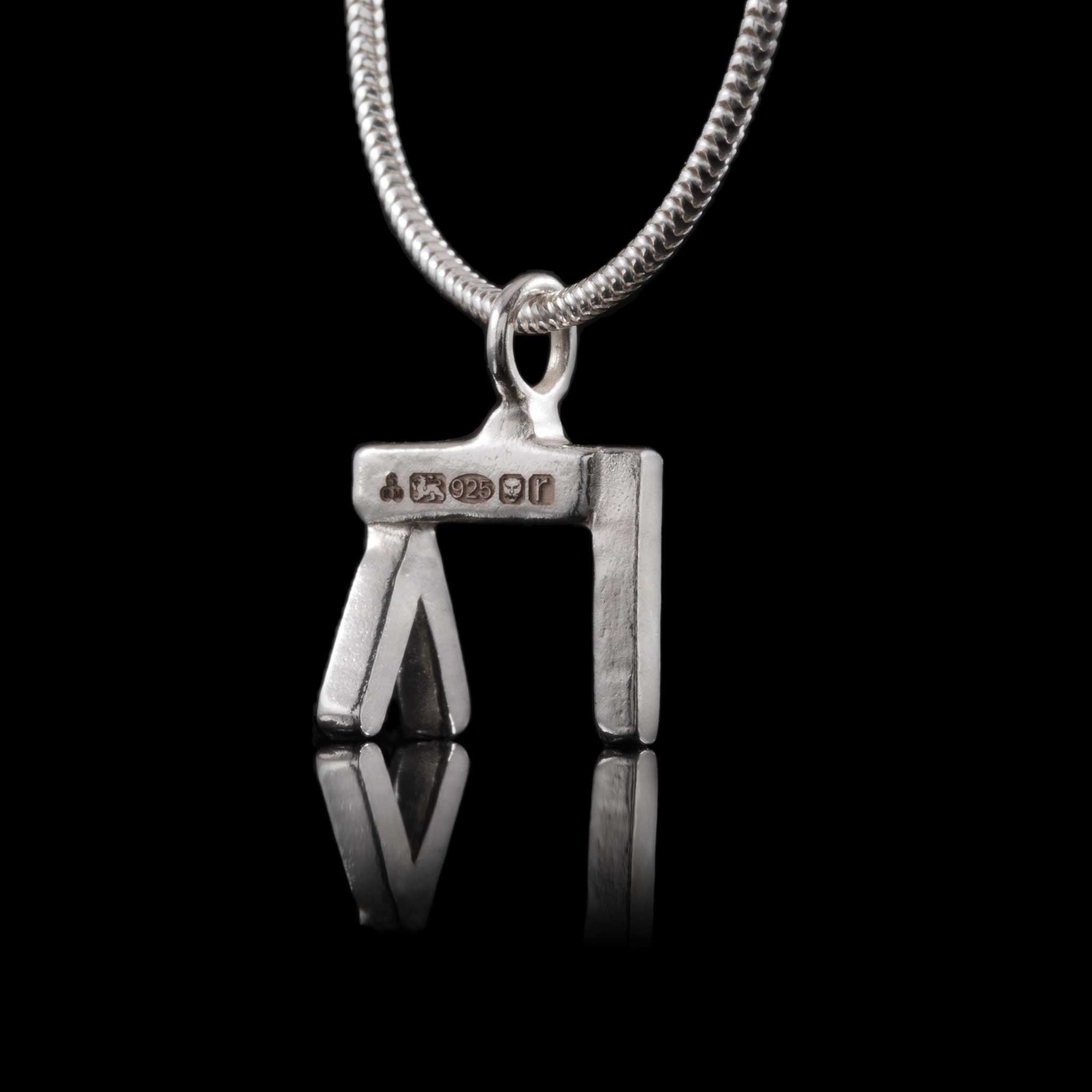 Handcrafted UK Made Sterling Silver Pendant. Belfast jewellery gift idea.  Engrave with your own personalized word up to 8 letters.  Hallmarked.