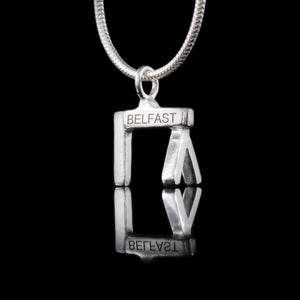 Belfast Crane Silver Necklace. Famous tourist and local landmark that can be worn for everyday or special occasions. Also great as a gift, which can be personalised, for engagements, weddings and special family days. Sterling Silver Personalised Pendant
