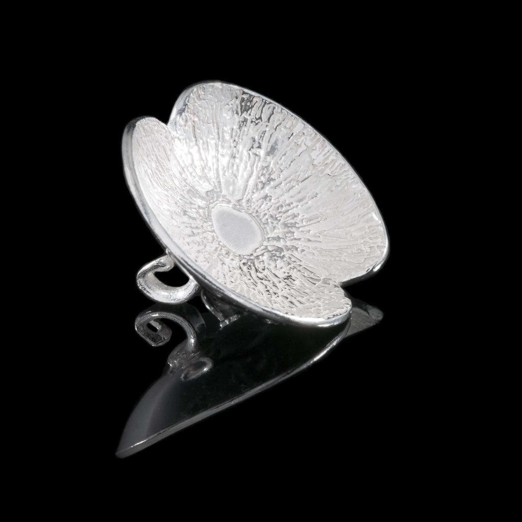 Sterling Silver Poppy Broach, hallmarked silver jewellery made in UK by NI Silver