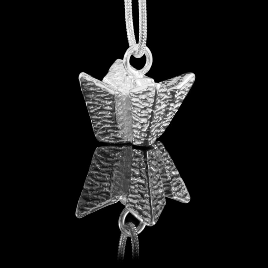 Belfast Titanic Silver Necklace - Large, is the whole design of the Titanic Belfast Visitor's Centre as a solid silver Hallmarked necklace.
