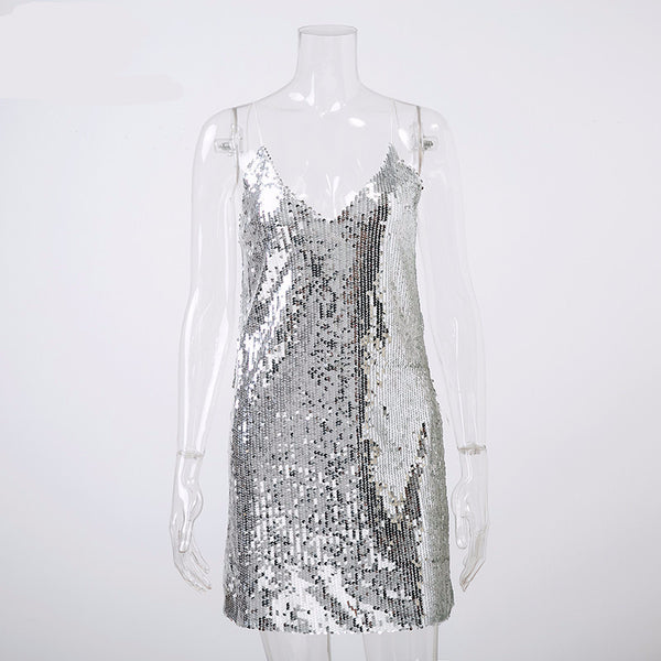 Women Off Shoulder Deep V Neck Silver Sequined Backless Sexy Party Strap Dress