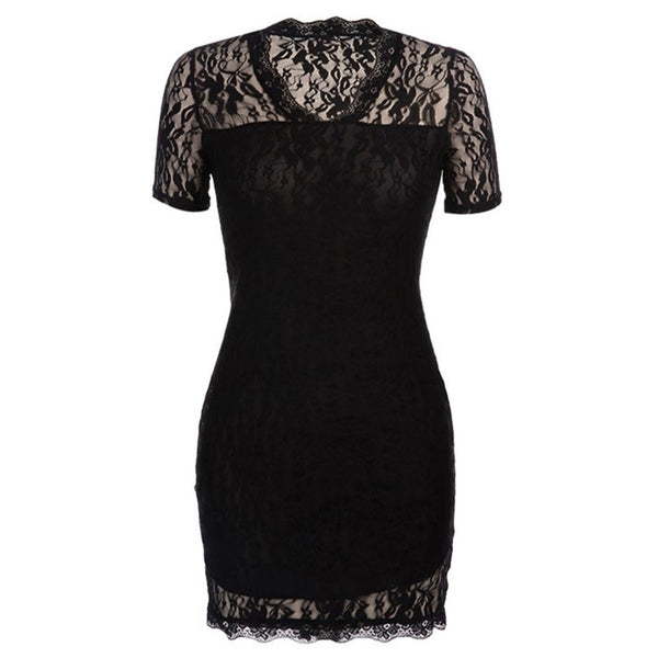 Women Summer Sexy Hollow Out Lace Stretch Slim Bodycon Mini Dress - Black
