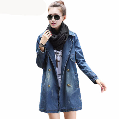 2017 Spring fashion women's long jean jacket, great casual but stylish long loose holes double breasted women denim coat for this spring and autumn. Plus size available