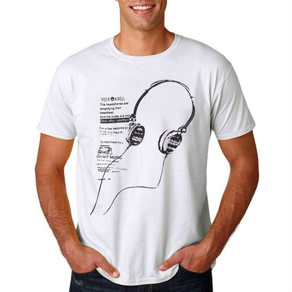2017 New Design O-Neck Cotton Comfortable Men T-Shirt - White - Headphone