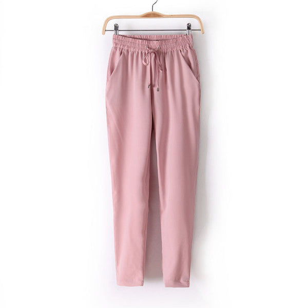 Women Fashion Slim Cut Elastic Waist Chiffon Pants *Summer Hot Sale Solid Color Office Lady Pants - Pink