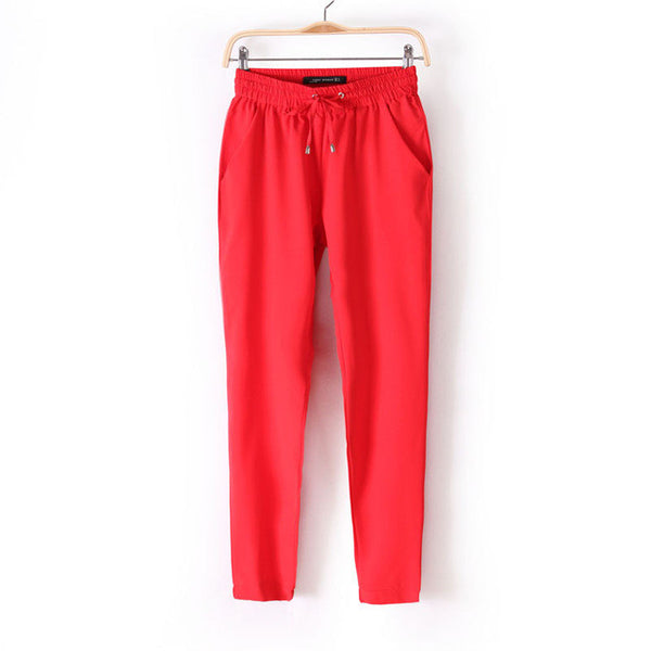 Women Fashion Slim Cut Elastic Waist Chiffon Pants *Summer Hot Sale Solid Color Office Lady Pants - Red