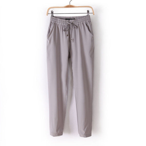 Women Fashion Slim Cut Elastic Waist Chiffon Pants *Summer Hot Sale Solid Color Office Lady Pants - Grey