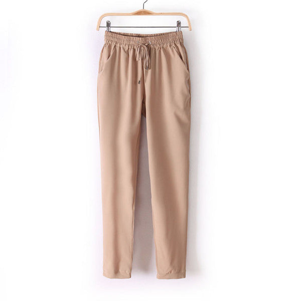 Women Fashion Slim Cut Elastic Waist Chiffon Pants *Summer Hot Sale Solid Color Office Lady Pants - Khaki