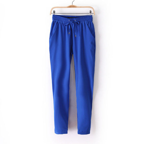 Women Fashion Slim Cut Elastic Waist Chiffon Pants *Summer Hot Sale Solid Color Office Lady Pants - Blue