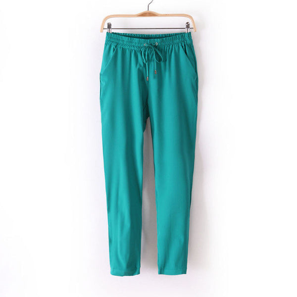 Women Fashion Slim Cut Elastic Waist Chiffon Pants *Summer Hot Sale Solid Color Office Lady Pants - Green