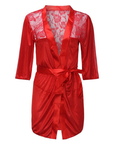Sexy 2 Pieces Set Sleepwear - Satin Lace Kimono Nightgowns With G-String Underwear-Red