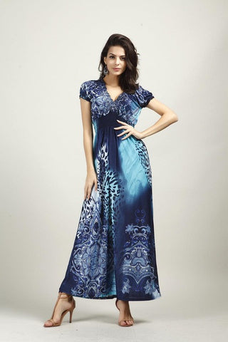 Spring/Summer Fashion Bohemian Leopard Beach Silk Maxi Dress