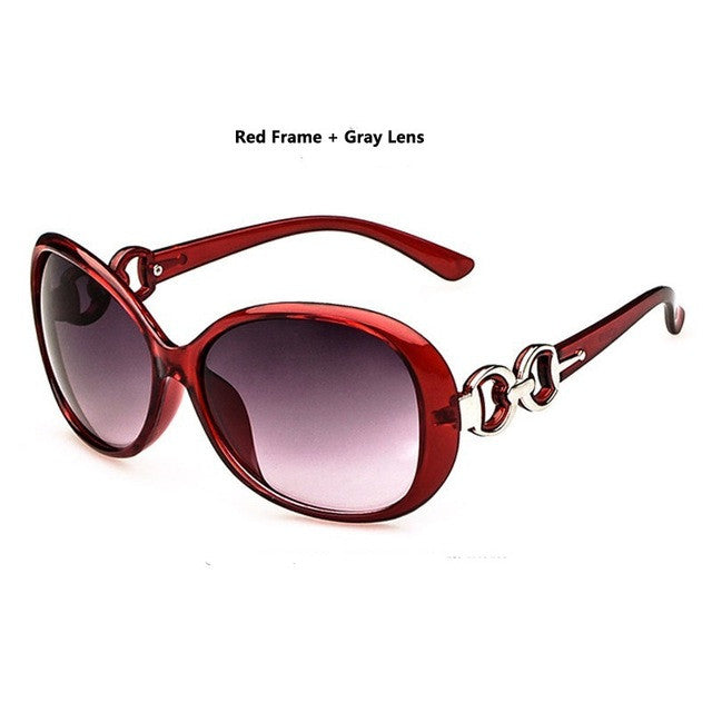 Modern Stylish New Designer Brand Oval Frame UV400 Red Gradient Lens Women Sunglasses