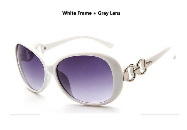 Modern Stylish New Designer Brand Oval Frame UV400 White Gradient Lens Women Sunglasses