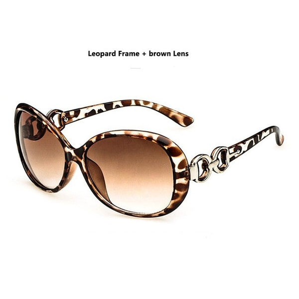 Modern Stylish New Designer Brand Oval Frame UV400 Leopard Gradient Lens Women Sunglasses