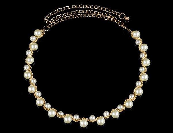 2017 Hot Fashion Gold Metal Beaded Pearl Necklace