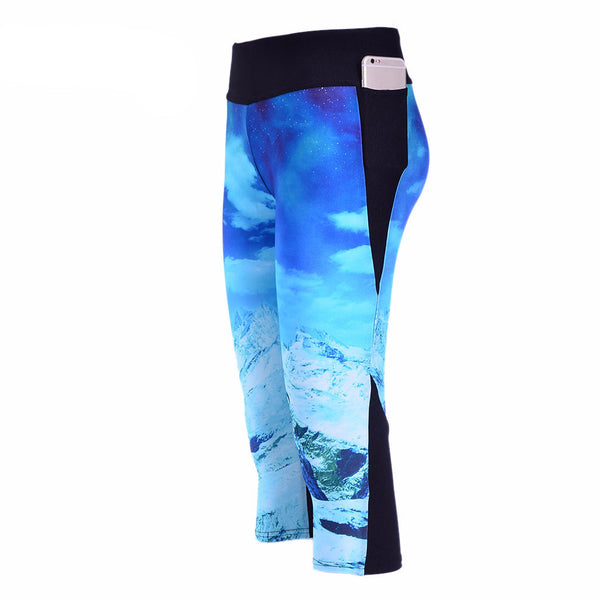 Women New Fashion High Waist Sexy Glacier Snow Digital Print Yoga Pants *Hot Fashion Women Three Quarter Pants