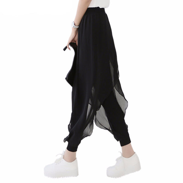 2017 Spring/Summer Hot Sales Ladies Trendy Black Loose Casual Chiffon Pants *England style, ankle length pants *Size from M to 5XL *Limited stock available only