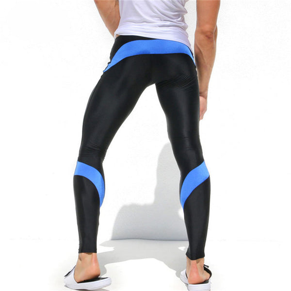 Men Lightweight High Stretch Tight Compression Joggers Pants *Fashion Sexy Low Waist Tight High Stretch Men Joggers Long Sweatpants-Sapphire