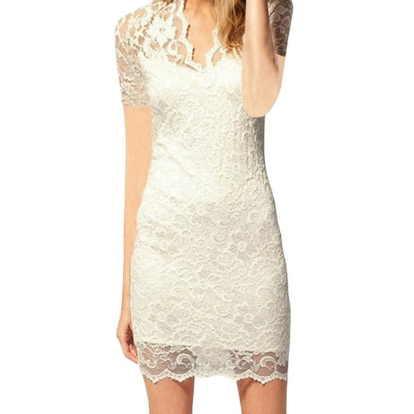 Women Summer Sexy Hollow Out Lace Stretch Slim Bodycon Mini Dress - White