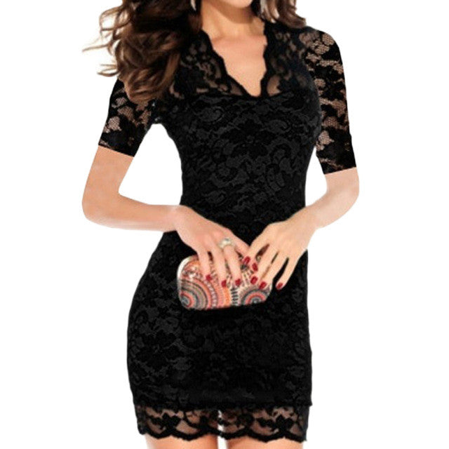 Women Summer Sexy Hollow Out Lace Stretch Slim Bodycon Mini Dress