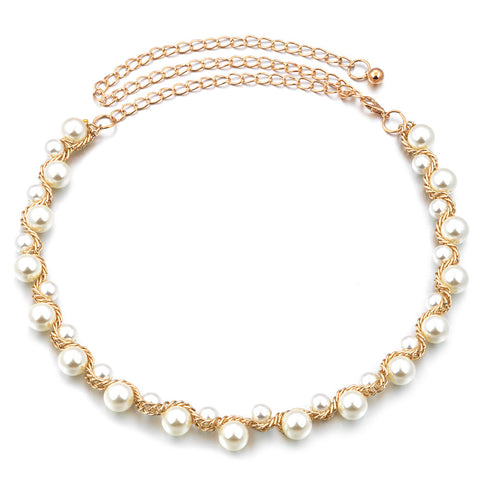Hot Fashion Gold Metal Beaded Pearl Necklace