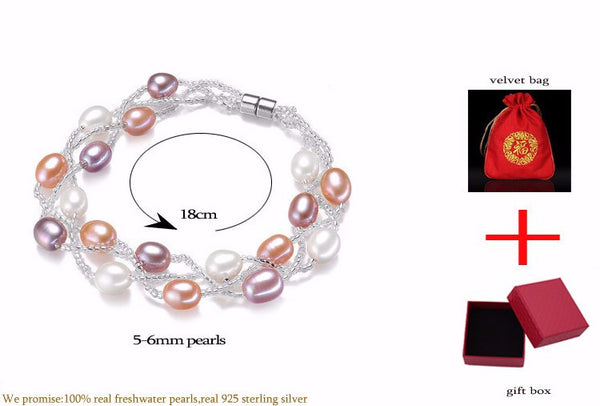 Pure Natural Stone Tear Drop Multi Colors Real 925 Streling Platinum Fine Fashion Pearls Bracelets