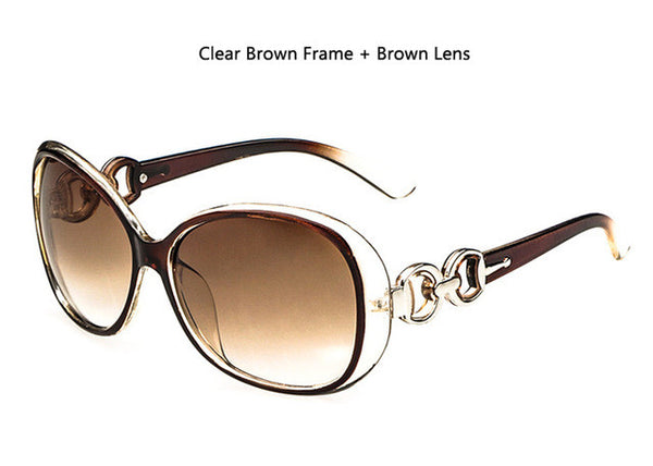 Brand Designer Vintage Frame Clear Brown Gradient Lens Women Sunglasses